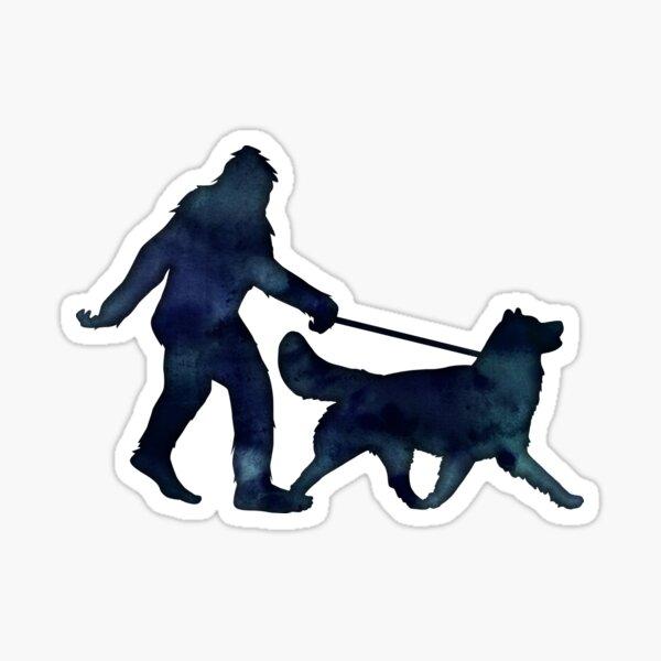 Bigfoot Walking an Alaskan Malamute on a Leash Sticker