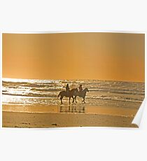 Horseback riders on the Oregon Beach Poster