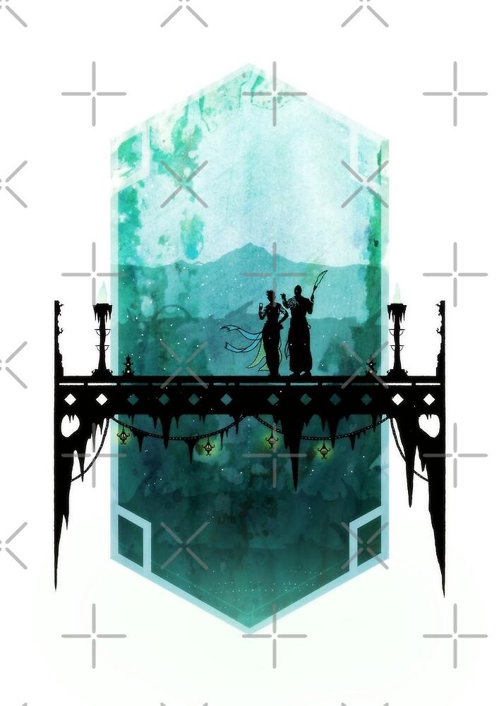Fantasy landscape illustration - Watercolor digital artwork - Ice bridge by zachholmbergart