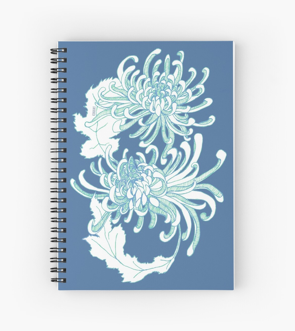 Chrysanthemum Infinity - Green and Blue by kikoeart