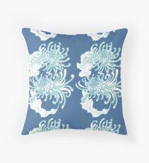 Chrysanthemum Infinity - Green and Blue Floor Pillow