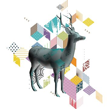 3d colorful deer by jsebouvi