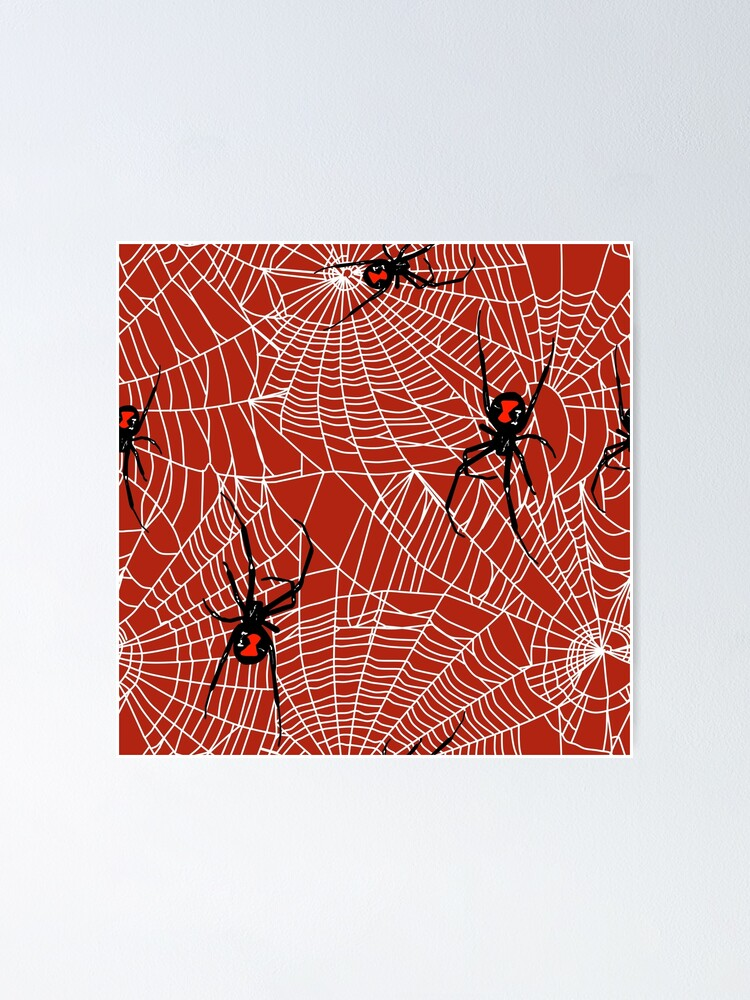 Black Widow Spiders And Webs Pattern On Red Poster By Sandpaperdaisy Redbubble