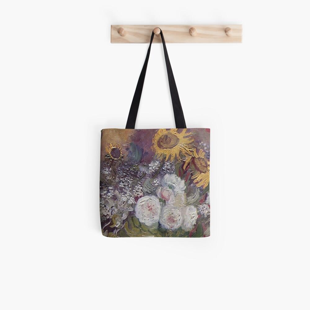 Van Gogh: Schüssel mit Sonnenblumen, Rosen und anderen Blumen Tote Bag
