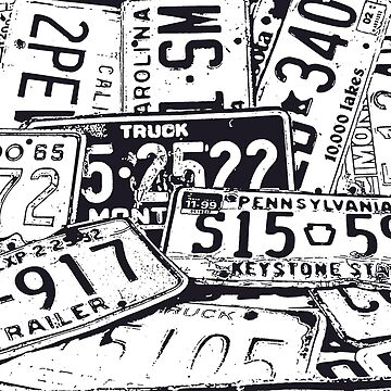 License Plates Black & White by tvlgoddess