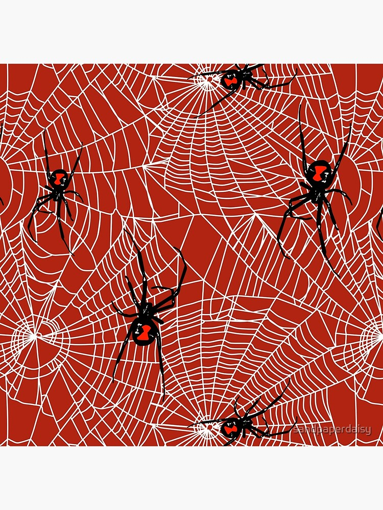 Black Widow Spiders And Webs Pattern On Red Art Board Print By Sandpaperdaisy Redbubble