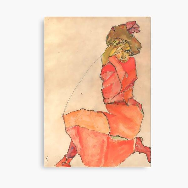 Egon Schiele Kneeling Female in Orange-Red Dress 1910  Canvas Print
