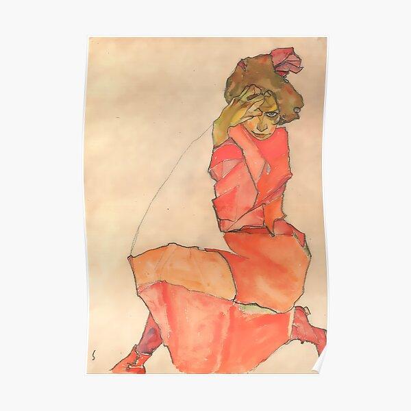 Egon Schiele Kneeling Female in Orange-Red Dress 1910  Poster
