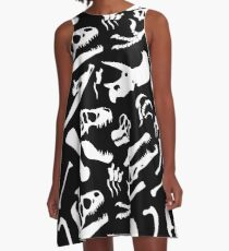 Dinosaur Bones (Black) A-Line Dress