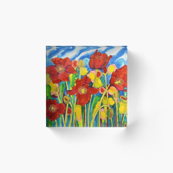 Red Poppies #1 Belize Acrylic Block