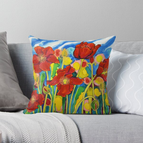 Red Poppies #1 Belize Throw Pillow