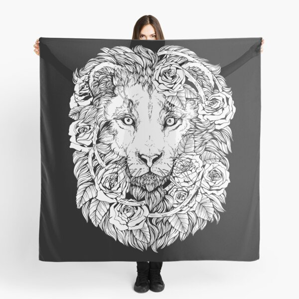 Lions and roses - Black and white Scarf