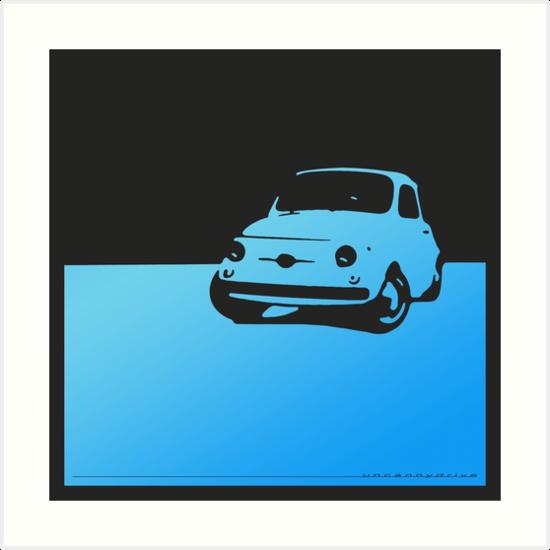 Fiat 500, 1959 - Light blue on black by uncannydrive
