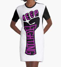 Keep Fighting Graphic T-Shirt Dress