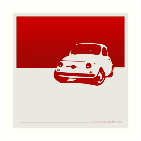 Fiat 500, 1959 - Red on white by uncannydrive