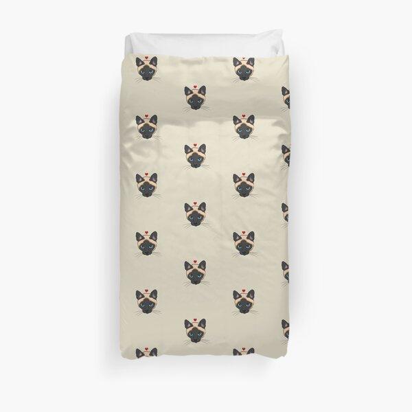 Cute Siamese Cat with Heart, Siamese Cat Mom, Siamese Cat Lover Duvet Cover