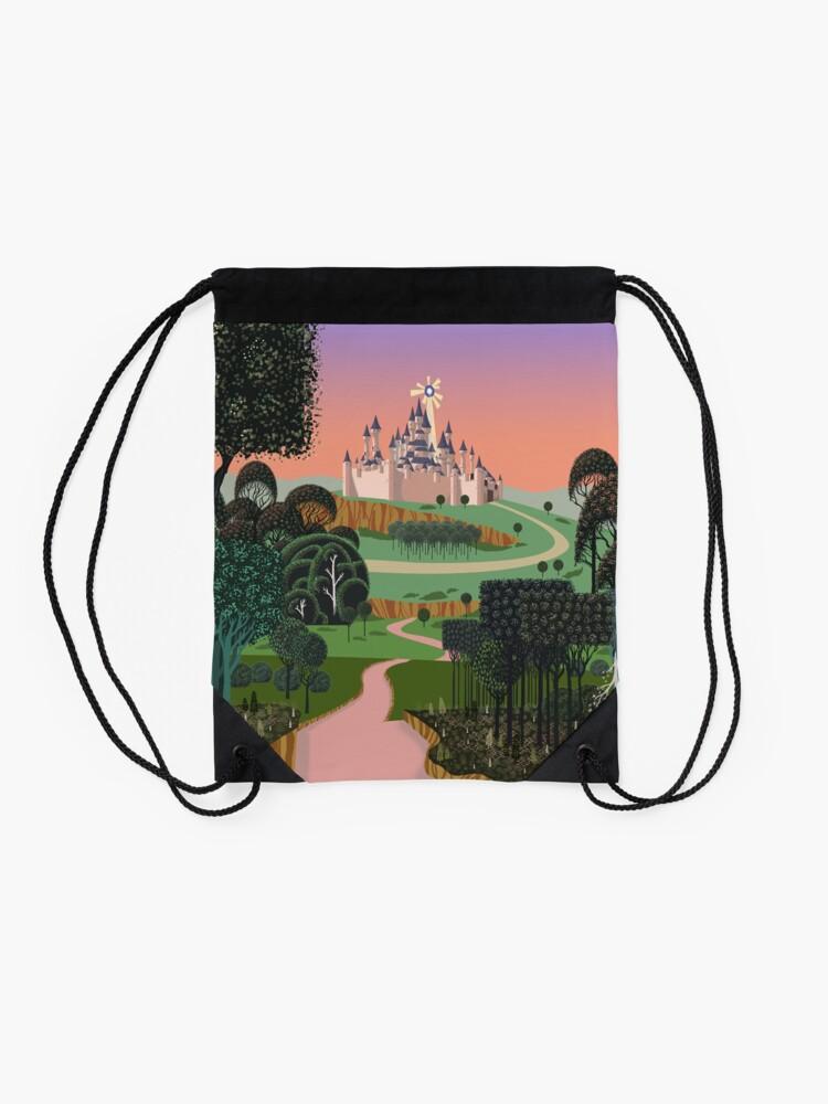 Alternate view of Dream for a Castle Drawstring Bag