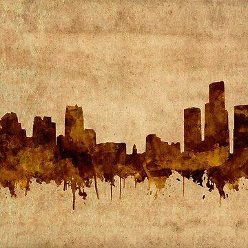 detroit skyline sepia by BekimART