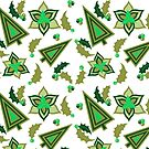 Holiday Retro Vintage Pattern In Greens by theartofvikki