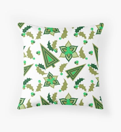 Holiday Retro Vintage Pattern In Greens Throw Pillow