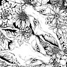 Autumn Fox Bloom - Black and White by Kellie Lamphere
