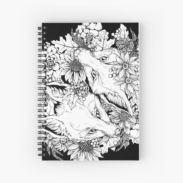 Autumn Fox Bloom - Black and White Spiral Notebook