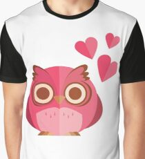 Cute Pink Valentines owl Graphic T-Shirt