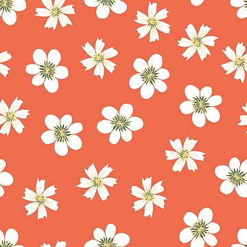 simple white flowers on coral red by swoldham