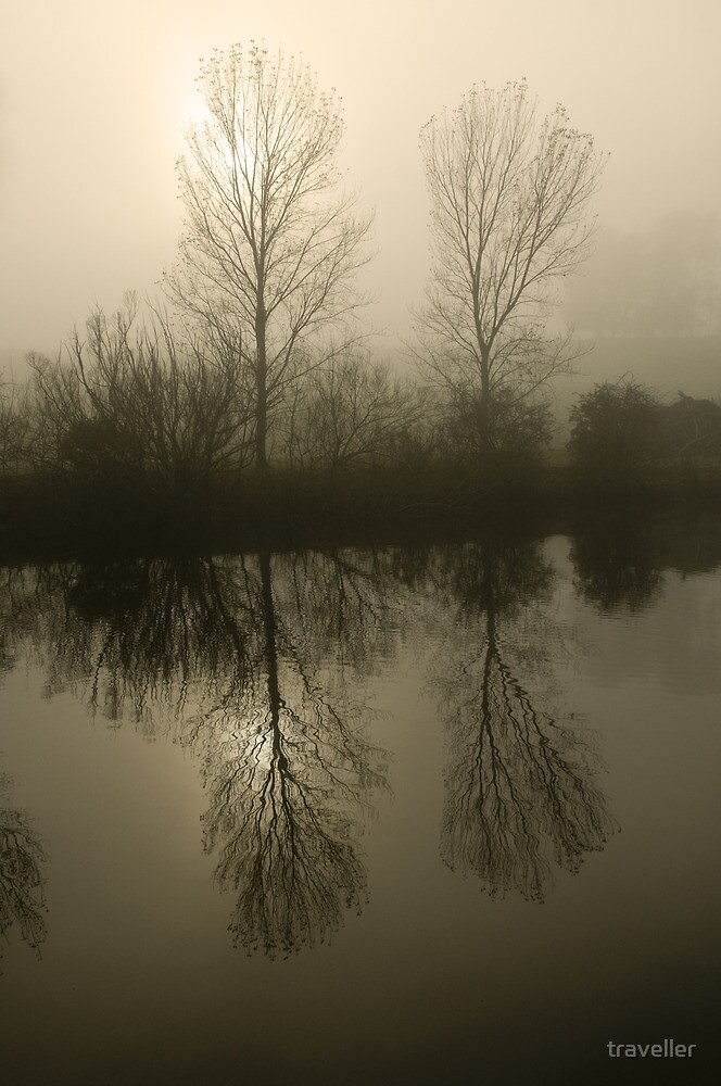 Misty morning on the river.  by traveller