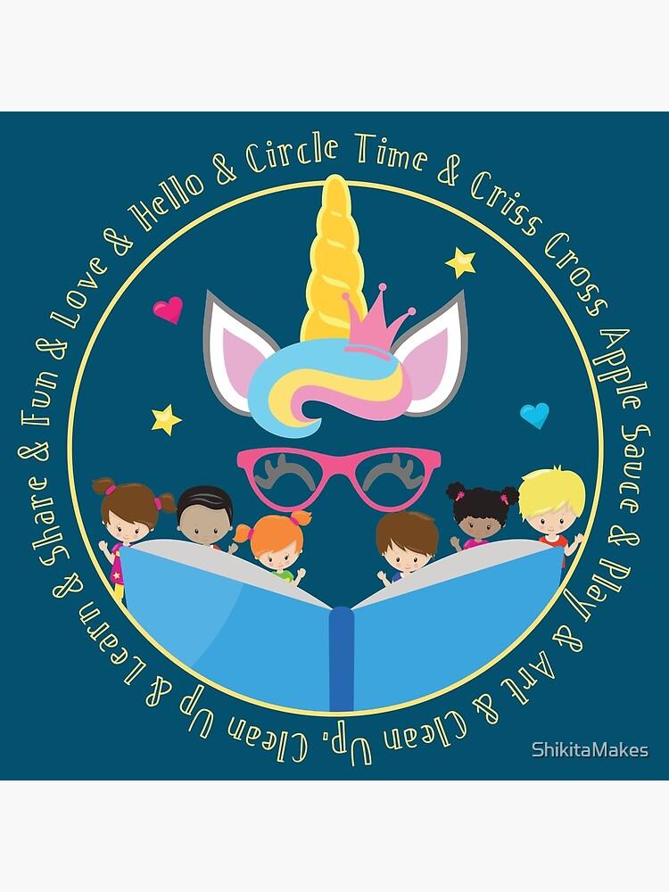 Daycare Provider Kindergarten Teacher Preschool Teacher Unicorn Art Board Print By Shikitamakes Redbubble