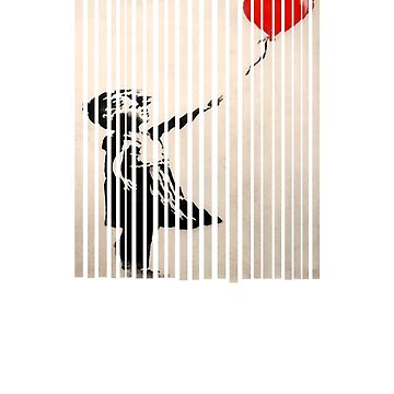 Shredded Banksy Girl with Balloon contemporary street art lover gift t shirt by Johannesart