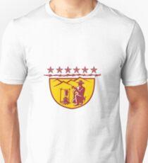 Cowboy Drinking Coffee Campfire Shield Mascot Unisex T-Shirt