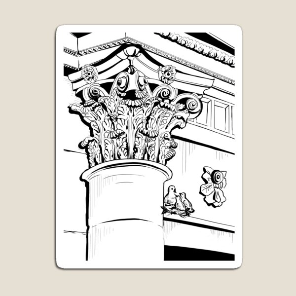 Architecture - Corinthian Order and Birds Magnet