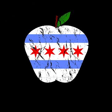 Chicago teachers apple with flag distressed colors by snowry
