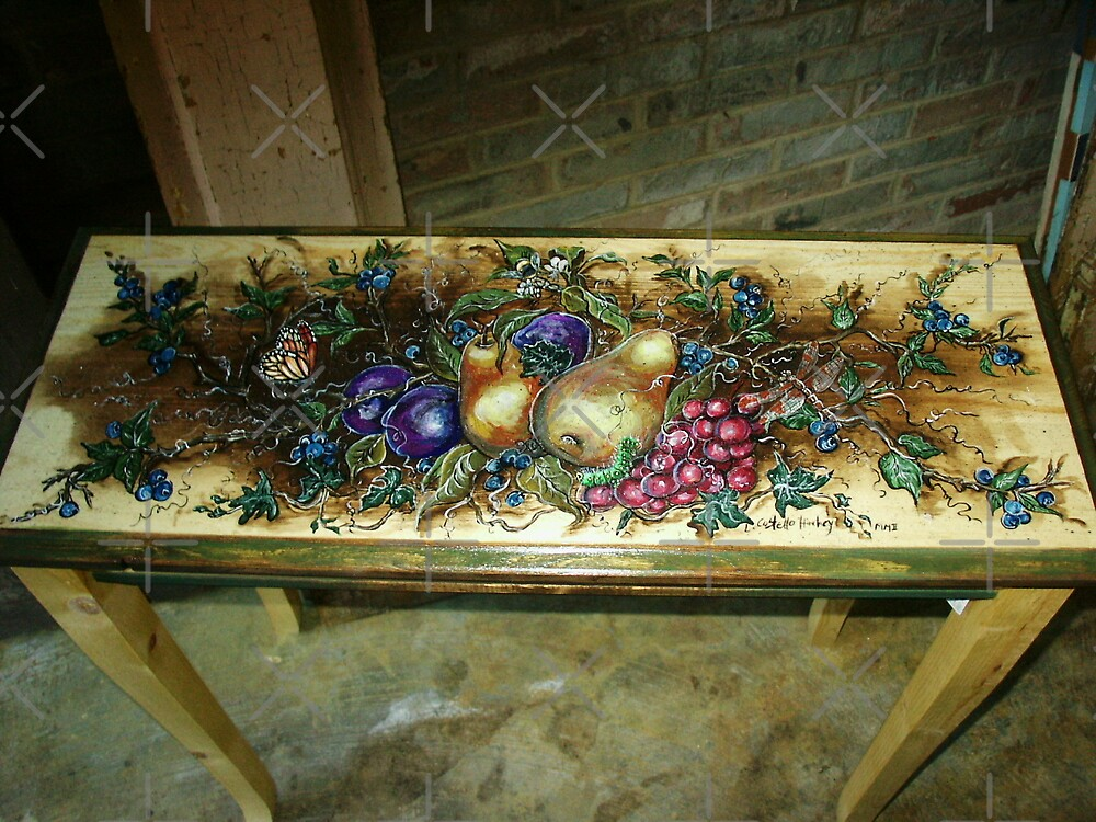 Botanical Painted Table by Linda Costello Hinchey