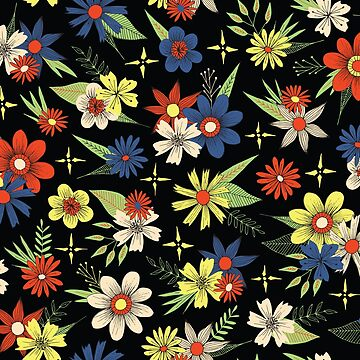 retro style bright floral pattern on a black background by swoldham