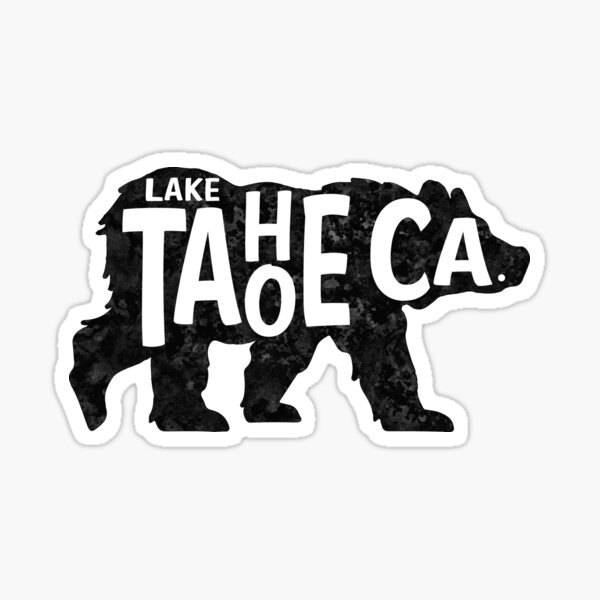 Lake Tahoe California Bear Typography Sticker