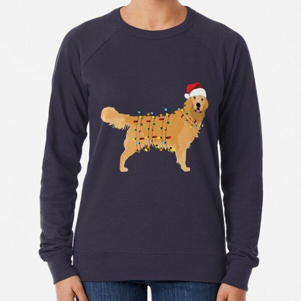 Golden Retriever Holiday Christmas Light Lightweight Sweatshirt