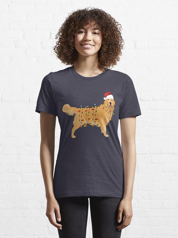 Alternate view of Golden Retriever Holiday Christmas Light Essential T-Shirt