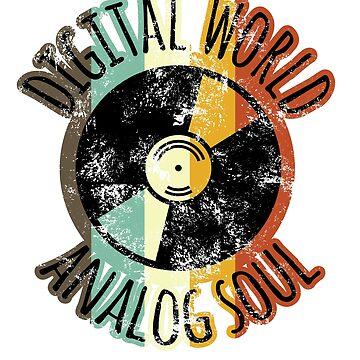 "Retro DJ Distressed ""Digital World Vinyl Soul"" T shirt by focodesigns"