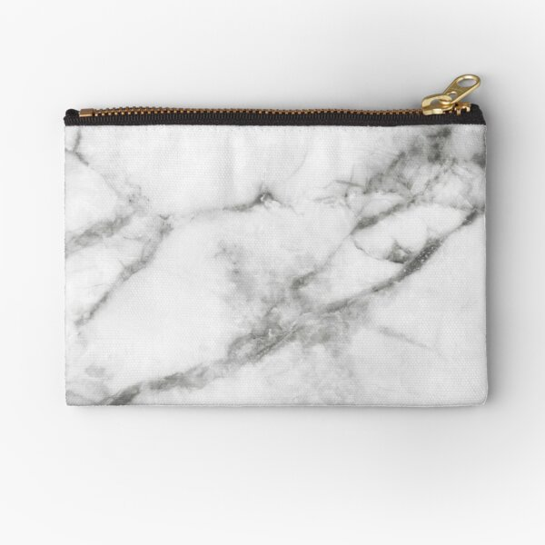 Grey Marble Print Zipper Pouch