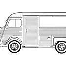 Citroen H Van Classic Car Outline Artwork by RJWautographics