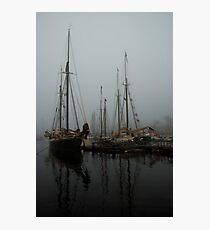 Fog Schooners Silhouettes And Reflections Camden Maine Photographic Print