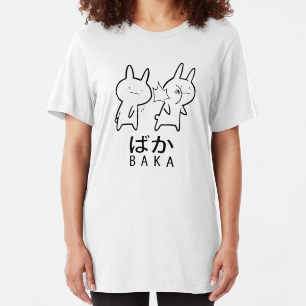 Funny Anime Baka Rabbit Slap  Slim Fit T-Shirt