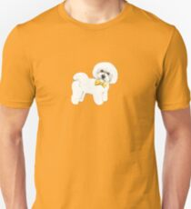 Bichon Frise on Mustard yellow, with bow Unisex T-Shirt