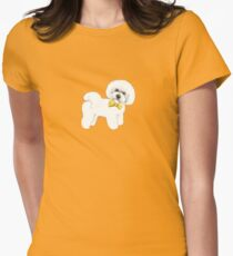 Bichon Frise on Mustard yellow, with bow Women's Fitted T-Shirt