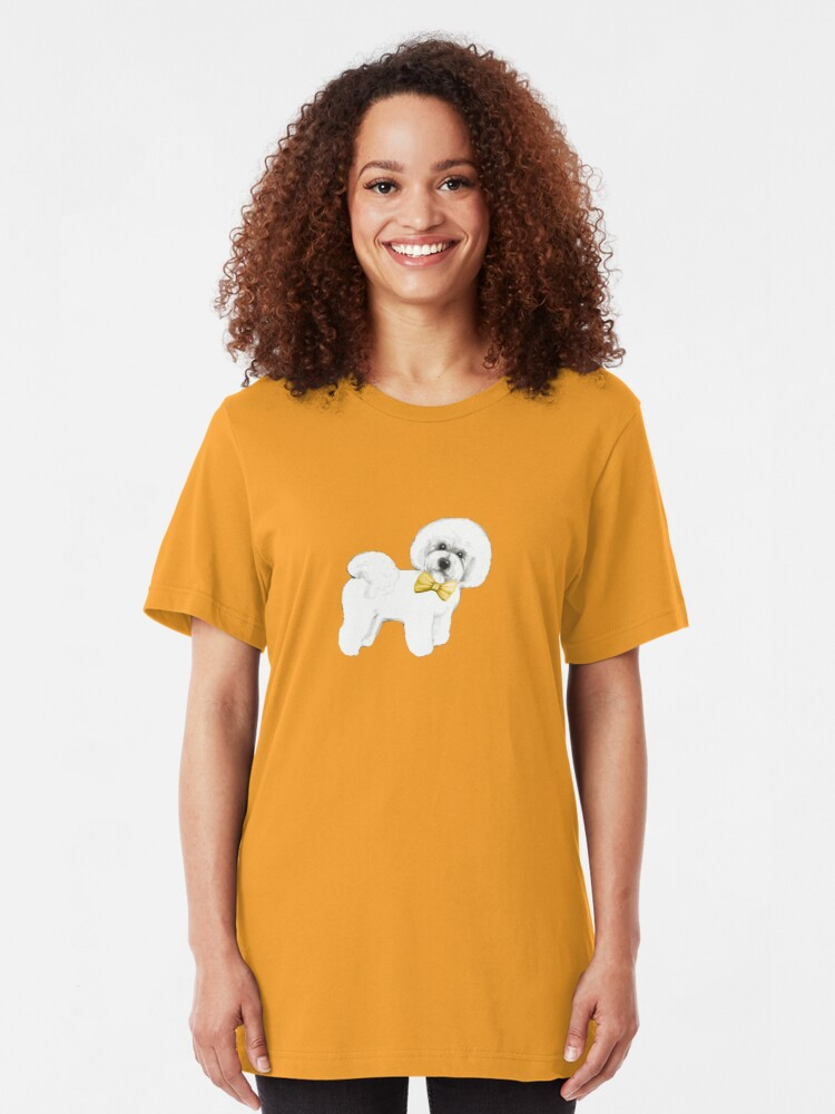 Alternate view of Bichon Frise on Mustard yellow, with bow Slim Fit T-Shirt