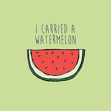 watermelon on green by laurathedrawer