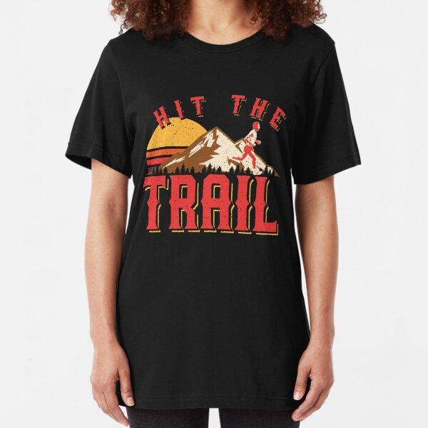 Vintage Gym Hit The Trail Running Marathon Gift Slim Fit T-Shirt