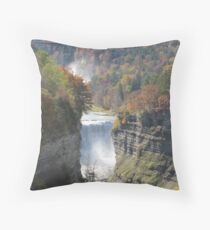 Majestic Falls - Letchworth State Park Throw Pillow